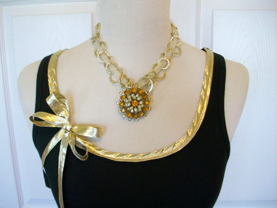 Special Listing Embellished Tank Top with Gold Metalic Ribbon Trim and Bow