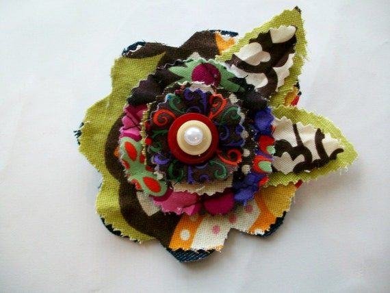Special listing Fabric Flower Pin Brooch or Hair Clip in Green, Red Brown with Pearl