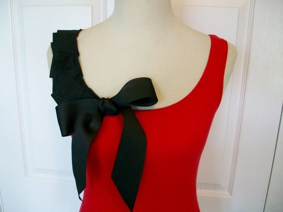 Special Listing - Embellished Red Tank Top with Black Ruffles and Beautiful Bow