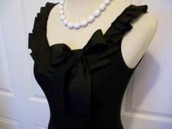 Special Listing Embellished Tank Top with Black Ruffle and Bow