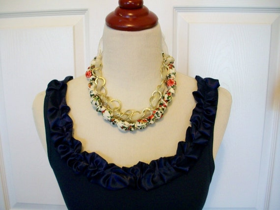 Special Listing Embellished Tank Top in Navy  with Navy Satin Ruffle