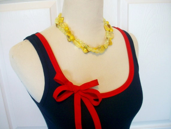 Special Listing Embellished Tank Top in Navy with Red Ribbon Trim and Bow