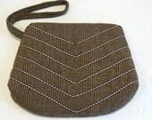 Chevron Clutch - Brown Wool
