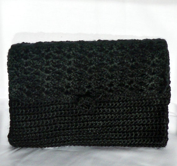 Perfect Purse Crocheted in Black with Strap