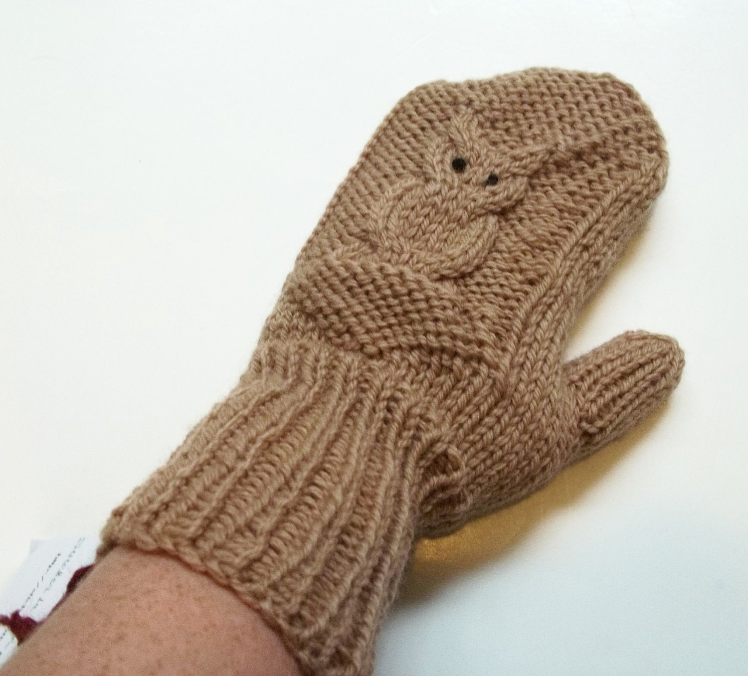 Owl Mittens Hand Knit Wool Mittens for Women in Brown