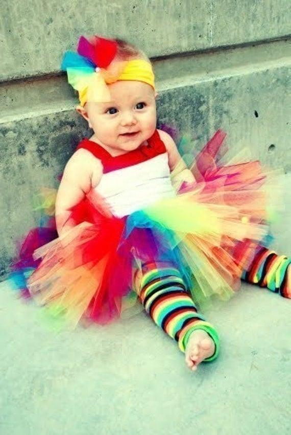 Rainbow Lollipop Tutu W\/Free Clip. Costume, Parties, Dress up, Photo Prop, HALLOWEEN
