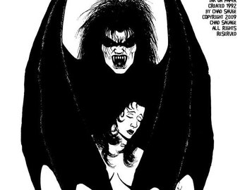 The Willing Victim 1992 Original Vampire Drawing