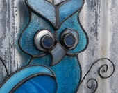 Stained Glass Owl azure blue