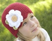 Beanie with scalloped edge and large flower- pick your size and color