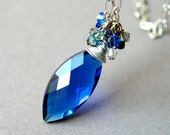 Royal Blue Crystal Pendant  on a metallic long chain with a cluster of crystals scattered around a large oval faceted glass drop