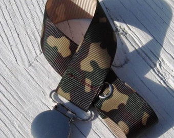 Boy Pacifier Clip Green Camoflage- Camo- Army- Baby Boy- Military