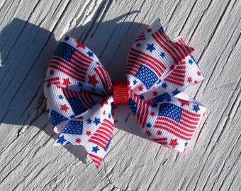 Fourth of July Small American Flag Pinwheel Hair Bow