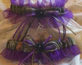 Realtree camo and Purple wedding garter set