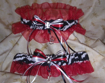 Zebra stripe wedding garter set with red
