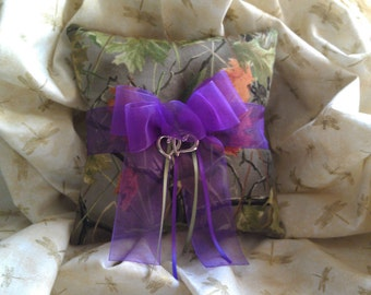 Realtree CAMO wedding ring bearer pillow with purple