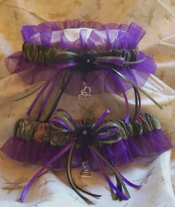 Realtree Camo And Purple Wedding Garter Set