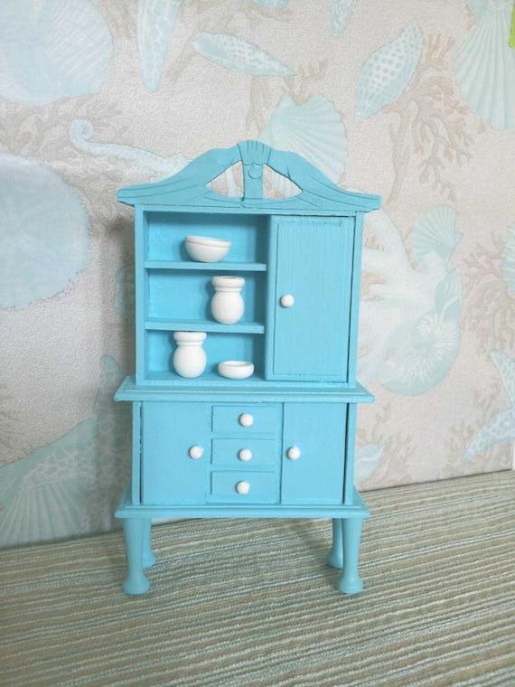 Blythe Barbie Pullip Doll Tiffany Blue Wooden Cabinet