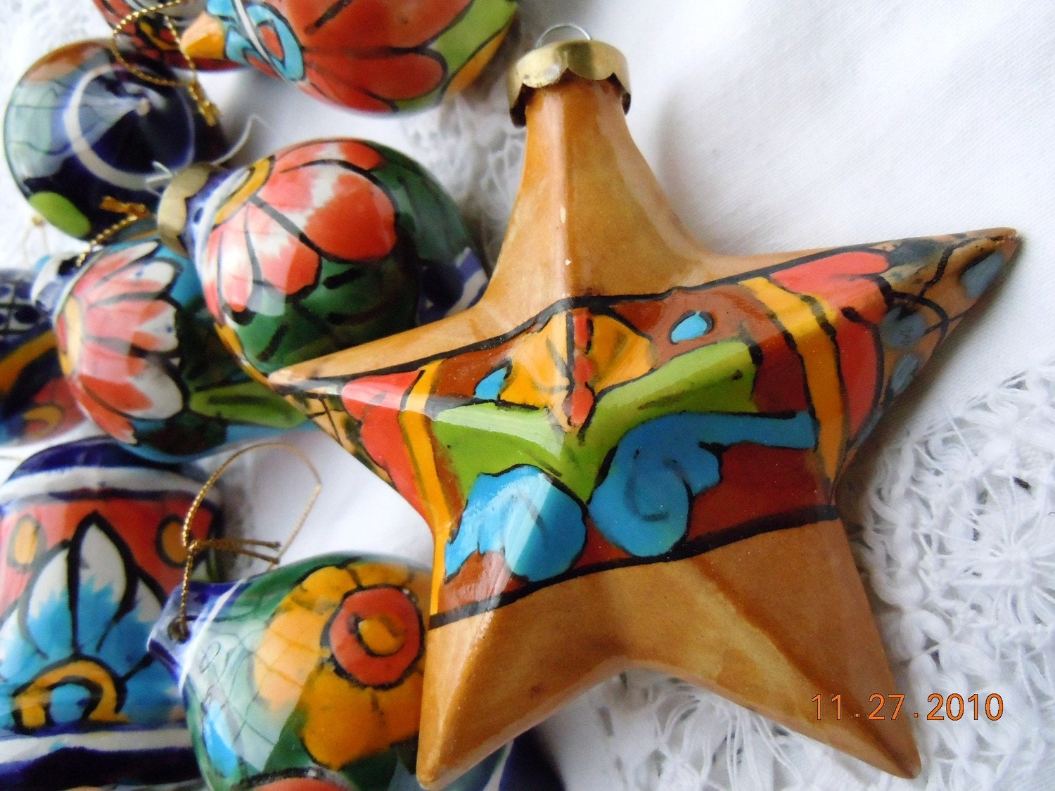 Vintage mexican christmas ornaments set of 12 by for Art for decoration and ornamentation