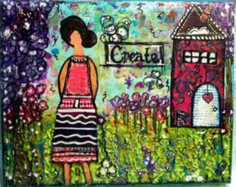 "Original Mixed Media Painting on 8x10 Canvas - Painting Home Decor Artwork - Folk Art -  SheArt - ""Create"""