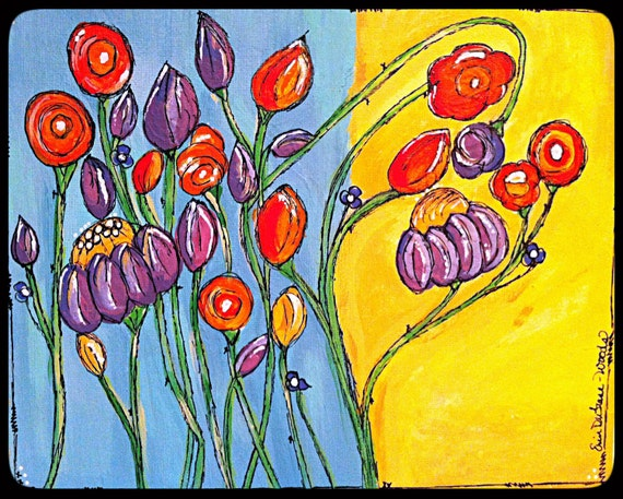 "Original Acrylic Painting on 8x10 Canvas - Painting Home Decor Artwork - Folk Art - ""Garden of Joy"""