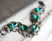 Multi Strand Emerald Bracelet with Vintage Jewels. Ivy