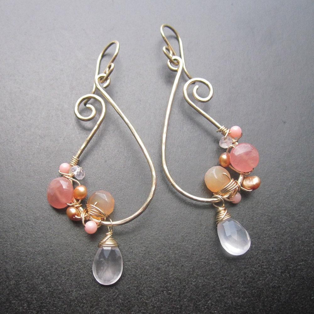 Shades Of Peach Paisley Asymmetrical Earrings Peach Dream