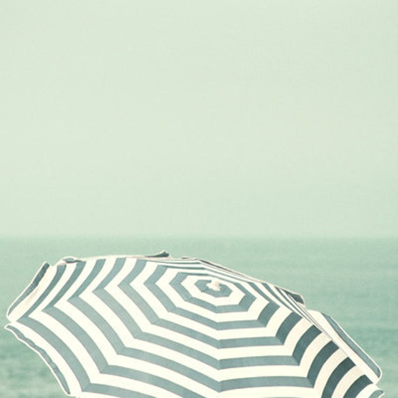 Parasol - 5x5 Fine Art Photograph - Home Decor Summer Beach Sea Blue Stripes Wall Art