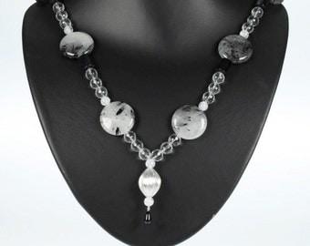 Black and White Gemstone Necklace