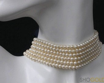 From our Bridal Collection:  6 strands white freshwater pearl chocker