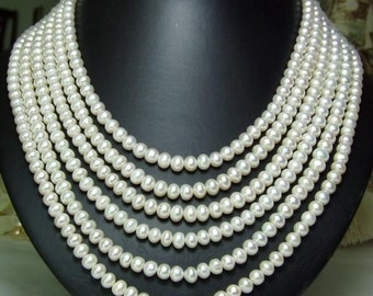 From our Bridal Collection  6 strands White freshwater pearl