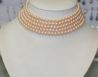 From our Bridal Collection Peach genuine freshwater pearl Choker