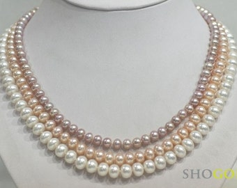 White, Pink and Lavender genuine freshwater pearl necklace (FREE SHIPPING)