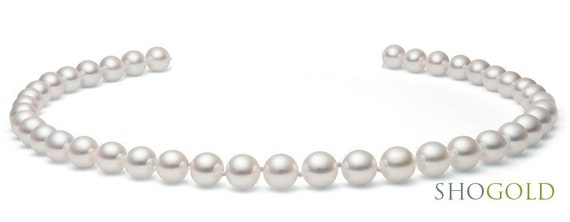White Japanese Cultured Akoya Saltwater Pearl Necklace  (Free Shipping)