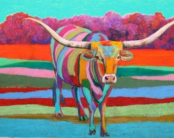 Wolf Kahn Jack II Limited Edition Museum Quality Giclee of my original painting of a Texas Longhorn