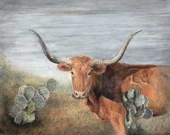 Texas Longhorn and Cactus