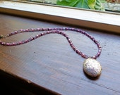 Silver Large Locket on Purple Beads