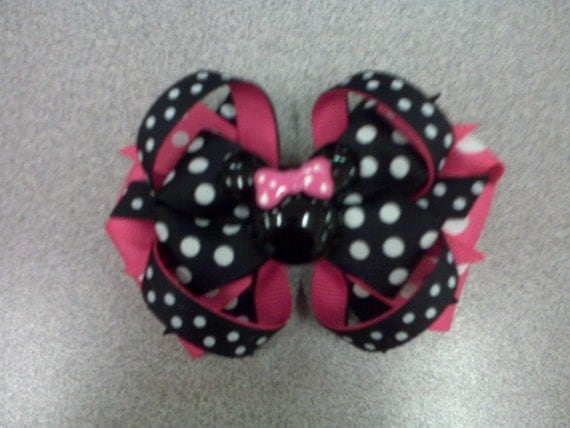 Hot Pink and Black Polka Dot Mouse Boutique Layered Bow