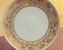 Antique Beyer and Bock Cherry Blossom Dinner Plate Royal Rudolstadt Prussia Brown Rust Colors
