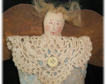 Folk Art Handmade Pillow Quilt Guardian Angel Oxidized Tin Wings Crocheted Doily Collar
