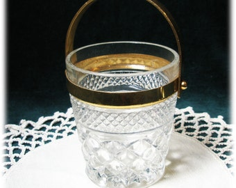 Cute and Unusual Hocking Glass Wexford Gold Handle Bucket Jar