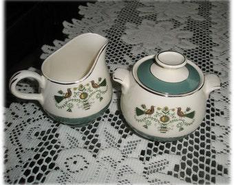Cream and Sugar Set Homer Laughlin Cavalier Eggshell Persian Garden CV28 Birds Flowers 1950s Mid Century