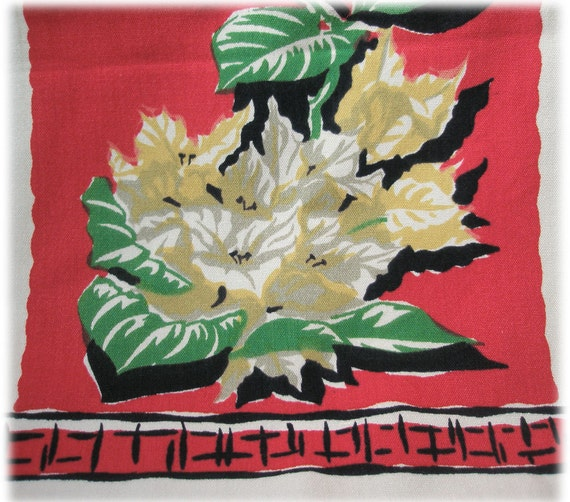 Vintage California Screen Printed Linen Kitchen DishTowel Colorful Red Geen Yellow Black White