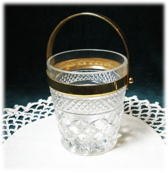 Cute and Unusual Hocking Glass Wexford Gold Handle Bucket Jar