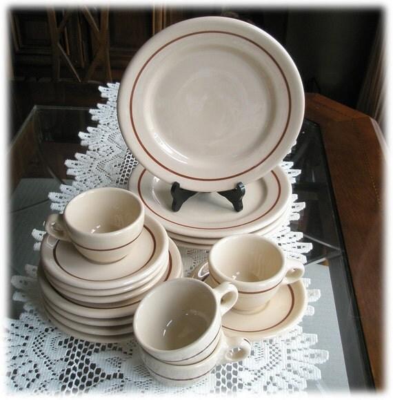 Restaurant Ware Service Jackson Vitrified Jac-Tan Brown Stripe Plates Cup Saucer
