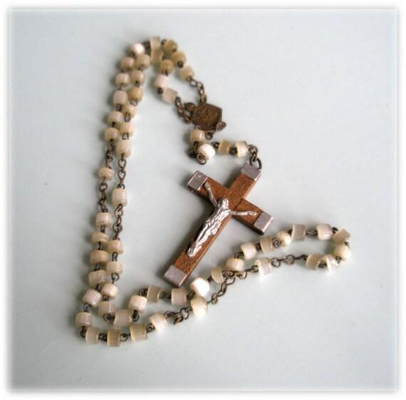 Irregular Cut Cane Opal Glass Bead Petite Antique Rosary Lightweight Wooden Cross