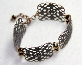 Vintage Cuff Style Aged Copper Filigree Bracelet with Gem Cut Coppery Crystals, Handmade Jewelry by CreativeGypsy on Etsy
