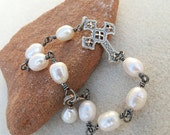 Sideways Cross Bracelet with Aged Silver Wire Wrapped Freshwater White Pearls, Handmade Jewelry by CreativeGypsy on Etsy