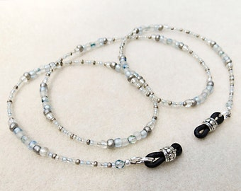 Eyeglass Chain in Neutral Silver Gray Frost Glass Beads and Ice Blue Crystals, Jack Frost, Handmade Jewelry, Necklace for Reading Glasses