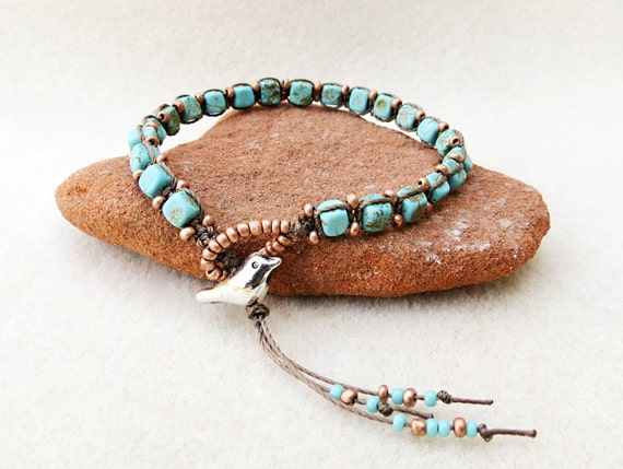 Knotted Turquoise and Copper Bracelet with Loop and Bird Closure : Knot Your Usual Bird, Handmade Jewelry by CreativeGypsy on Etsy