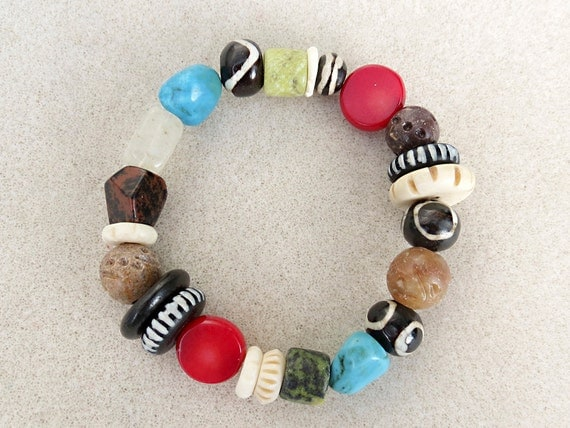 Mala Inspired Tribal Bracelet in Multi Color Stones and Carved, Batik Bone, Handmade Jewelry by CreativeGypsy on Etsy